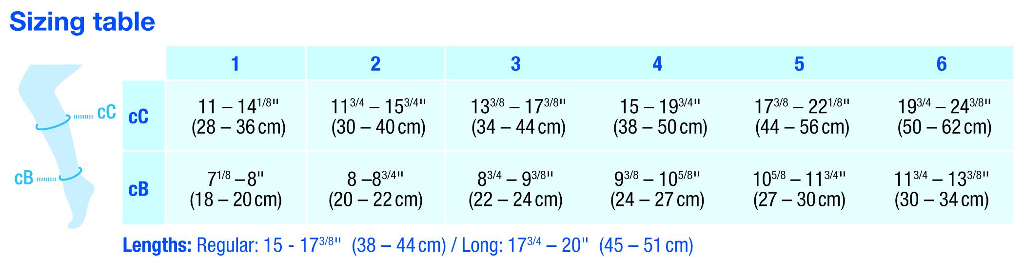 JOBST compression socks size chart