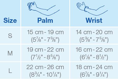 JOBST gauntlet size chart