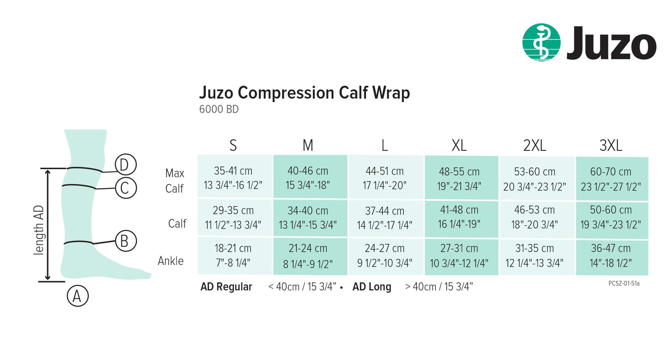 juzo calf wrap sizing chart