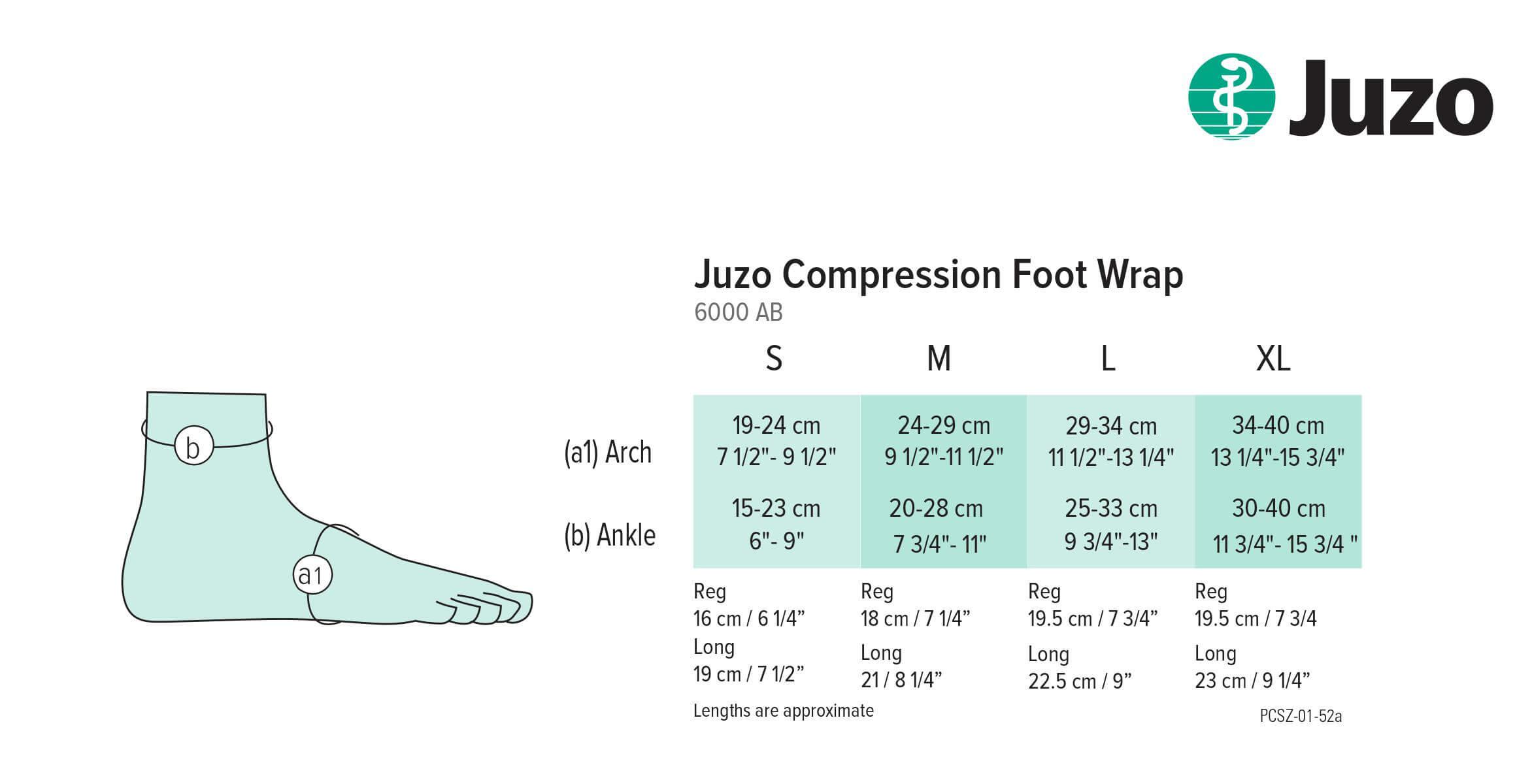 juzo foot wrap sizing chart