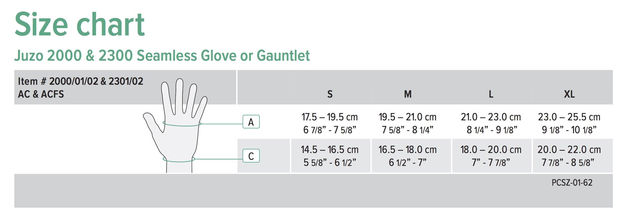juzo soft seamless glove gauntlet size chart