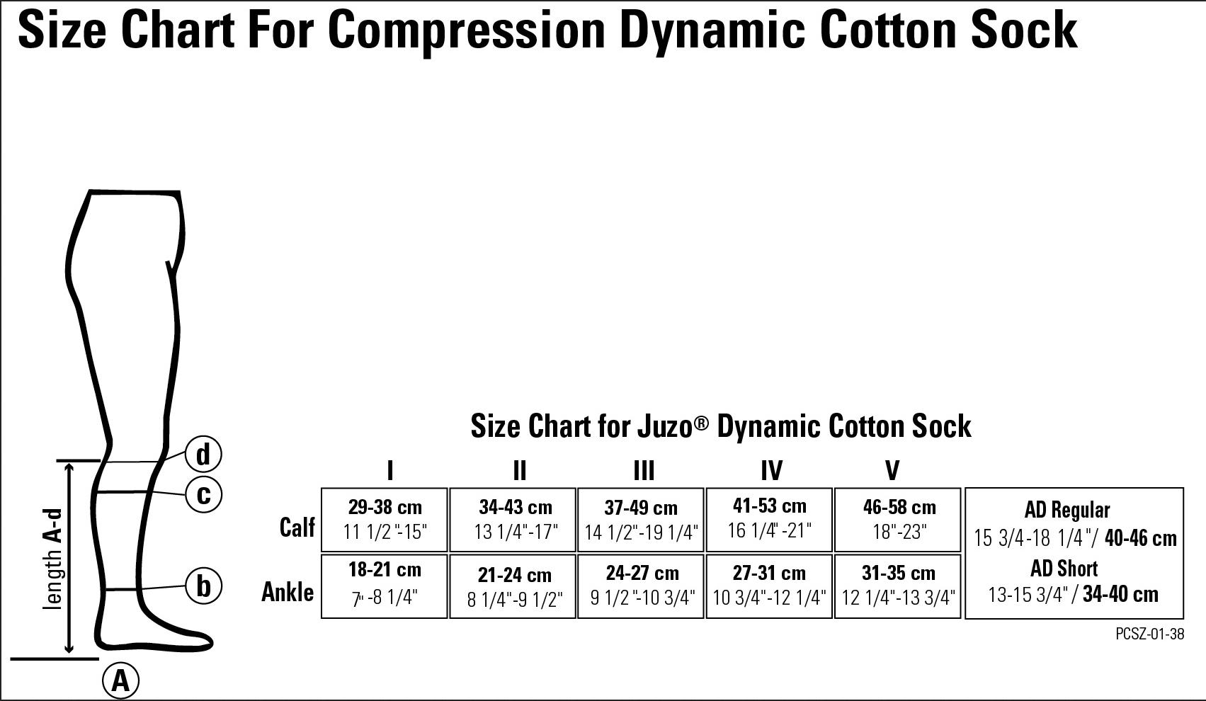 juzo dynamic cotton sock size chart