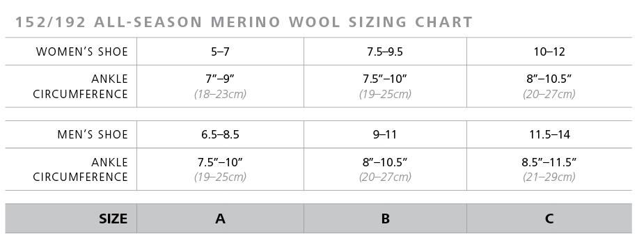 sigvaris 152 192 all season merino wool sizing chart
