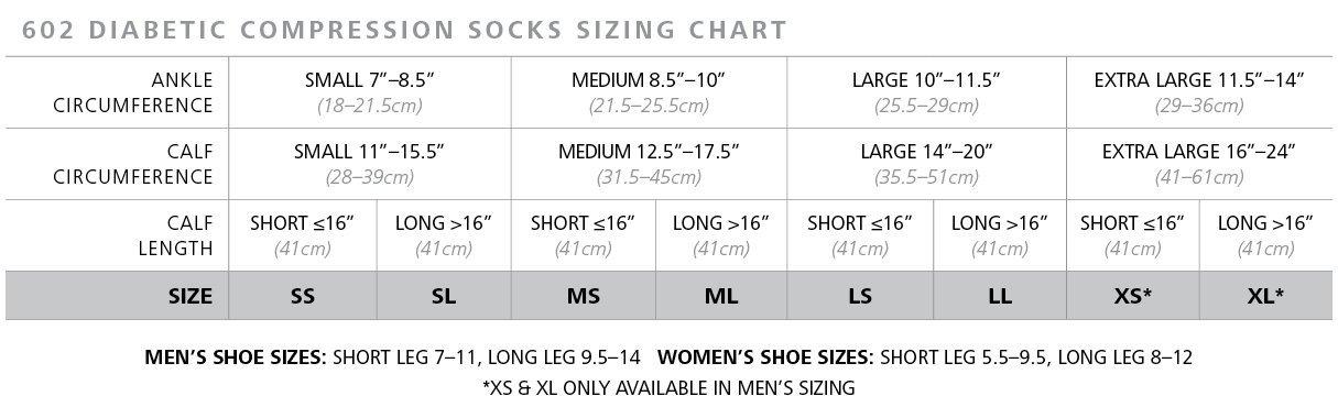 sigvaris 602 diabetic compression socks sizing chart