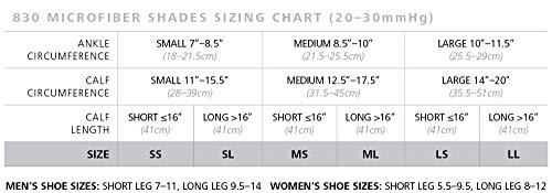 sigvaris 830 microfiber shades size chart