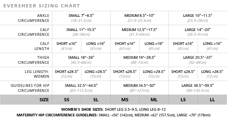 Eversheer Hosiery size chart