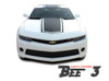 Chevy Camaro BEE 3 Wide Center Outline Vinyl Graphics Rally Stripes Kit for 2014 2015 All Coupe Models