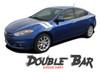Dodge Dart DOUBLE BAR Fender Hash Slash Striping Vinyl Graphic Decals for 2013 2014 2015 2016