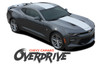 Chevy Camaro OVERDRIVE Center Wide Hood Racing Stripes Rally Vinyl Graphics and Decals Kit for 2017 2017 2018 SS RS V6