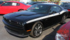 Side View of Blue 2018 Dodge Challenger Side RT Stripes DUEL 15 2015-2019 2020 2021