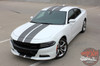 Front angle view of N-CHARGE RALLY 15 | Dodge Charger Racing Stripes Hood Decal Roof Bumpers Vinyl Graphic fits 2015-2020 2021