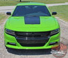 Front View of Green 2019 Charger Hood Stripes CHARGER 15 HOOD 2015-2020 2021