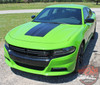 Front View of Green 15 CHARGER HOOD | Dodge Charger Hood Decal Daytona Hemi SRT 392 Center Hood Stripe Vinyl Graphics 2015-2020 2021