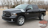 Front Angle View of Black Dodge Ram 1500 Hood Stripes DOUBLE BAR 2009-2016 2017 2018