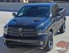Front of Black 2017 Dodge Ram Sport Hood Decals HEMI HOOD 2009-2018