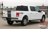 Rear Angle View of 2017 F150 Center Decals 150 CENTER STRIPE 2015-2017