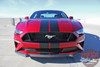 Front Hood View of STAGE RALLY | 2018 Ford Mustang Stripes Racing Matte Black