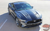 Side view of EURO RALLY   2018 Ford Mustang Center Matte Black Stripes