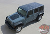 Front View of 2017 Jeep Wrangler Hood Stripe OUTFITTER HOOD 2008-2017