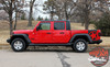 Side View of Red BOOTSTRAP Jeep Gladiator Side Star Vinyl Graphics Decal Stripe Kit for 2020-2021