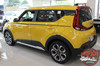 Rear angle of Yellow 2020 2021 Kia Soul Side Decals OVERSOUL