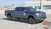Front angle view of 2019 Toyota Tacoma Side Door Stripes STORM 2015-2020 2021