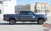 Side angle view of 2019 Toyota Tacoma Side Door Stripes STORM 2015-2020