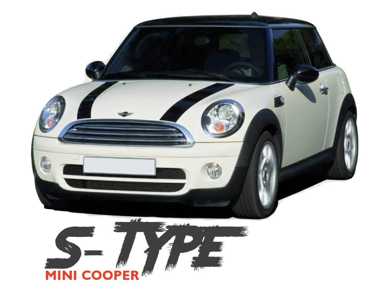 Mini Cooper S Type Hood Split Hood Striping Vinyl Graphics Decals