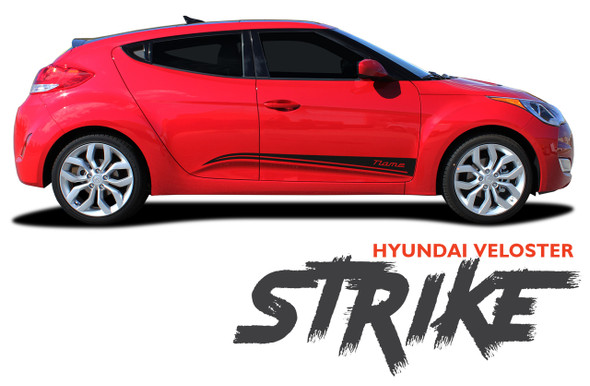Hyundai Veloster STRIKE Vinyl Graphic Stripes Decal Kit for 2011 2012 2013 2014 2015 2016 2017 2018