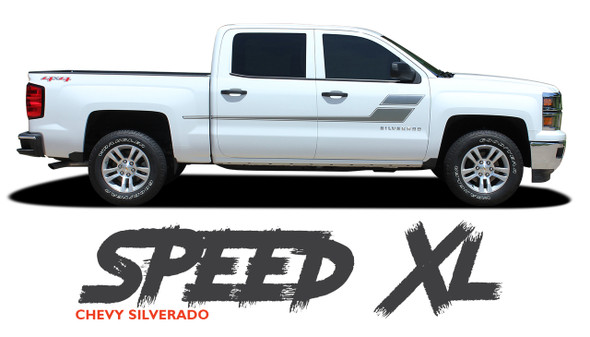 Chevy Silverado Graphics SPEED XL Hockey Side Door Body Vinyl Decal Stripe Kit for 2010 2011 2012 2013 2014 2015 2016 2017 2018