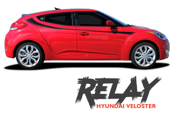 Hyundai Veloster RELAY Vinyl Graphic Stripes Decal Kit for 2011 2012 2013 2014 2015 2016 2017 2018