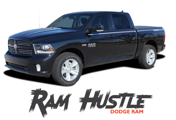 Dodge Ram HUSTLE Hood Spears Spikes Decals Side Body Line Stripes Vinyl Graphics Kit fits 2009-2018 Models