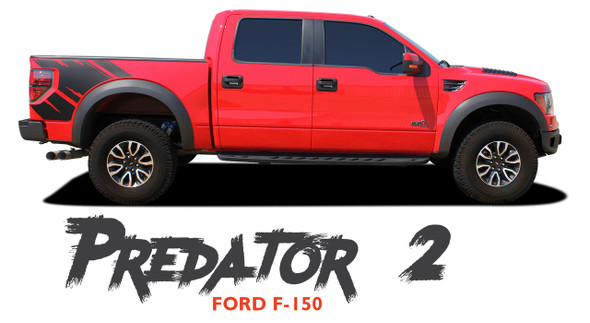 Ford F-150 PREDATOR 2 F-Series Raptor Mudslinger Side Truck Bed Vinyl Graphics Decals Striping Kit 2009 2010 2011 2012 2013 2014