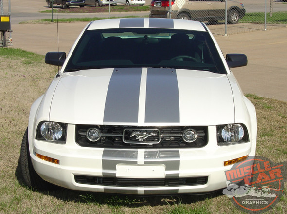 Ford Mustang V6 WILDSTANG S-V6 Lemans GT500 Style 10 inch Wide Vinyl Hood Racing Stripe Kit 2005 2006 2007 2008 2009