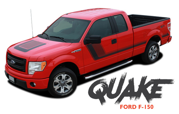 Ford F-150 QUAKE Hood and Hockey Stripe Tremor FX Appearance Vinyl Graphics Decals Striping 2009 2010 2011 2012 2013 2014 Models