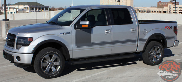 Ford F-150 FORCE ONE DIGITAL Appearance Package Hockey Side Door Vinyl Graphic Decal Kit for 2009-2014 or 2015 2016 2017 2018 2019 2020