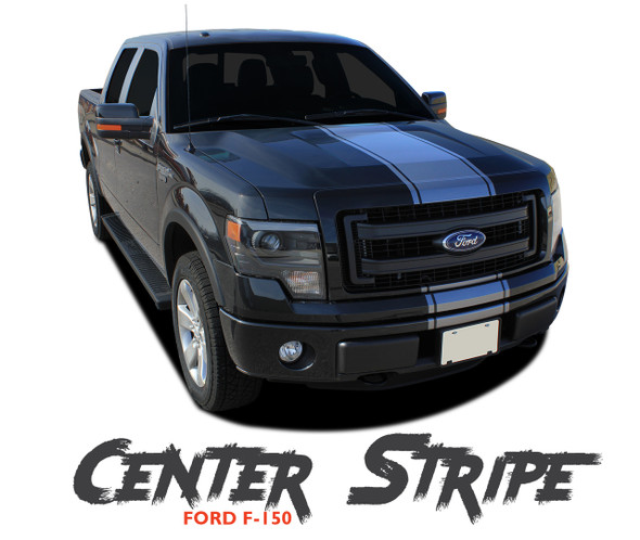 Ford F-150 CENTER STRIPE Center Hood Tailgate Racing Stripes Vinyl Graphics Decals Kit for 2009 2010 2011 2012 2013 2014 Models