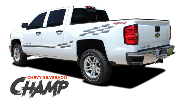 Chevy Silverado Decals CHAMP Checkered Flag Bed Side Vinyl Graphic Kit for 2009 2010 2011 2012 2013 2014 2015 2016 2017 2018