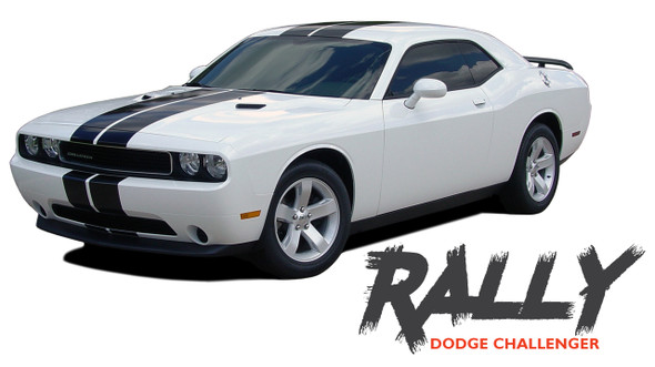 Dodge Challenger RALLY Bumper to Bumper 10 inch Vinyl Graphics Racing Stripes Decals Kit 2011 2012 2013 2014