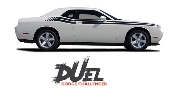 Dodge Challenger DUEL Upper Door Split Strobe Vinyl Graphic Decal Stripe Kit 2008 2009 2010 2011 2012 2013 2014 2015 2016 2017 2018 2019 2020 2021