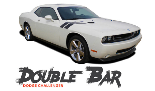 Dodge Challenger DOUBLE BAR Hood Fender Stripes Hash Slash Vinyl Graphic Decals Stripes 2010 2011 2012 2013 2014 2015 2016 2017 2018 2019 2020 2021