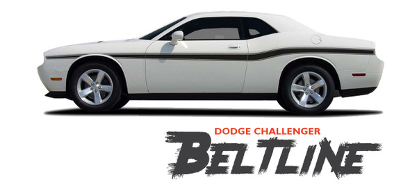 Dodge Challenger BELTLINE Mid-Body Line Accent Stripe Vinyl Graphics Decals Kit for 2010 2011 2012 2013 2014 2015 2016 2017 2018 2019 2020