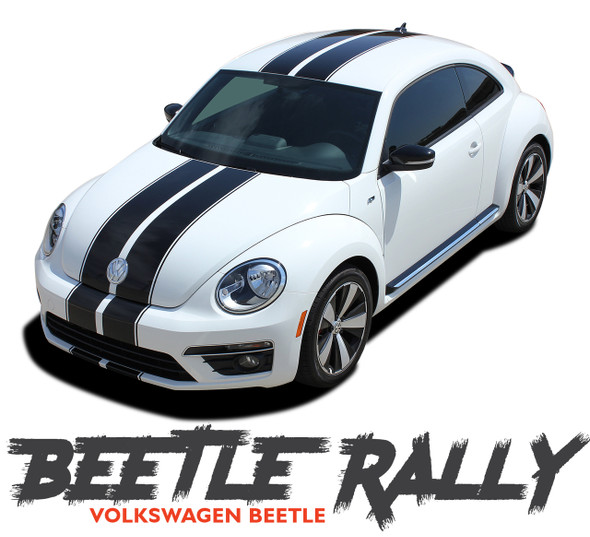 Volkswagen Beetle Complete Bumper to Bumper Rally Racing Stripes BEETLE RALLY Vinyl Graphic Decal Kit 2012-2019