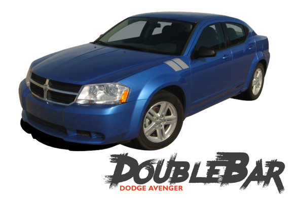 Dodge Avenger AVENGED DOUBLE BAR Hash Slash Hood Fender Vinyl Graphics Decals Kit for 2008 2009 2010 2011 2012 2013 2014