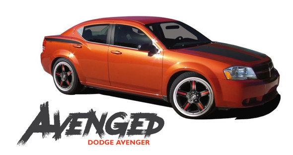 Dodge Avenger AVENGED Hood Quarter Body and Trunk Vinyl Graphics Decals Striping Kit for 2008 2009 2010 2011 2012 2013 2014