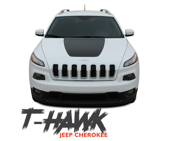 Jeep Cherokee T-HAWK Trailhawk Hood Center Blackout Vinyl Graphics Decal Stripe Kit for 2013 2014 2015 2016 2017 2018 2019 2020