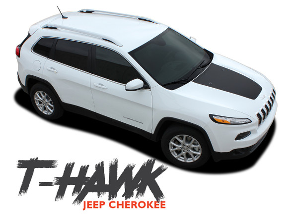 Jeep Cherokee T-HAWK Trailhawk Hood Center Blackout Vinyl Graphics Decal Stripe Kit for 2013 2014 2015 2016 2017 2018 2019 2020 2021