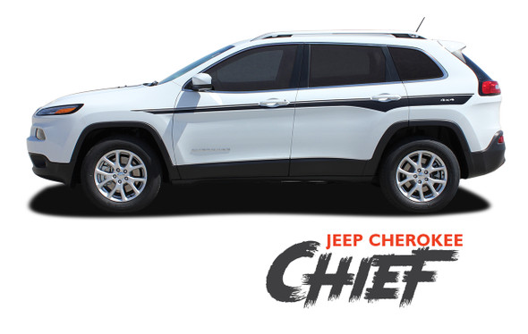 Jeep Cherokee CHIEF Upper Door Body Line Accent Vinyl Graphics Decal Stripe Kit for 2013 2014 2015 2016 2017 2018 2019 2020 2021