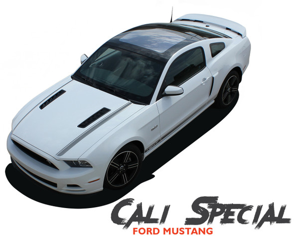 Ford Mustang CALI California Special GT/CS Style Hood Lower Rocker Panel Door Body Stripes Vinyl Graphic Decals 2013 2014