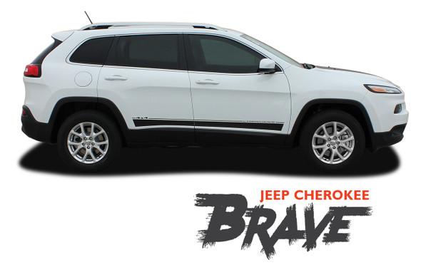 Jeep Cherokee BRAVE Lower Rocker Panel Side Door Body Vinyl Graphics Decal Stripe Kit for 2013 2014 2015 2016 2017 2018 2019 2020 2021